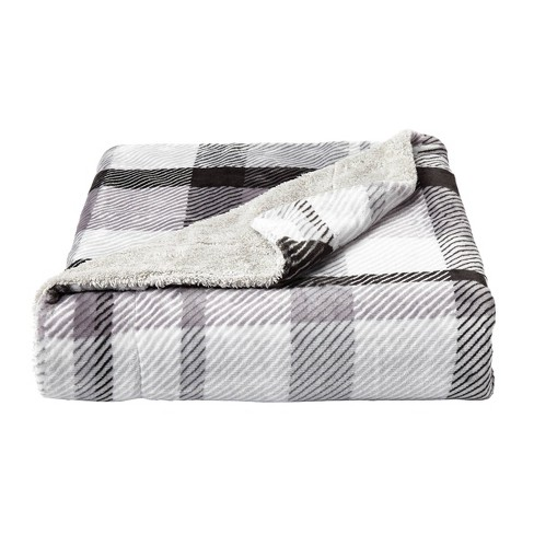 "60""x70"" Sherpa Fleece Plaid Throw Blanket - Yorkshire Home - image 1 of 4"