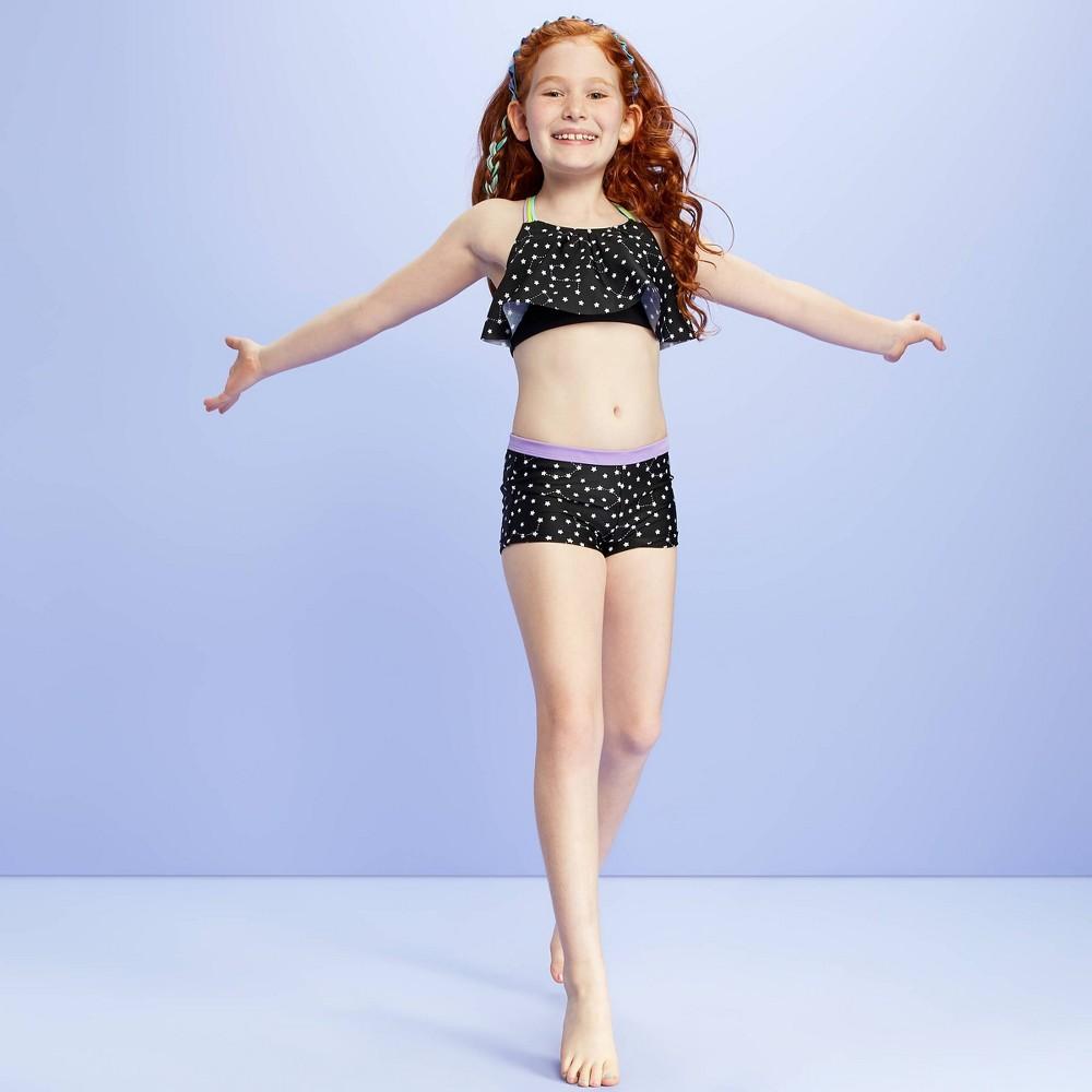 Image of Girls' Stargazing Bikini with Macrame Back Detail Swim Top - More Than Magic Black L, Girl's, Size: Large