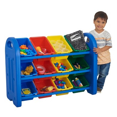 ECR4Kids 3-Tier Toy Storage Organizer for Kids, Blue with 12 Assorted Color Bins