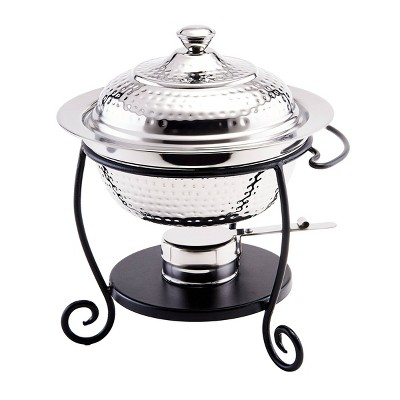 Old Dutch 1.8qt Stainless Steel Hammered Chafing Dish with Iron Stand
