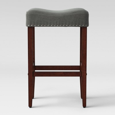 "29"" Rumford Saddle Barstool with Wood Leg Gray - Threshold™"