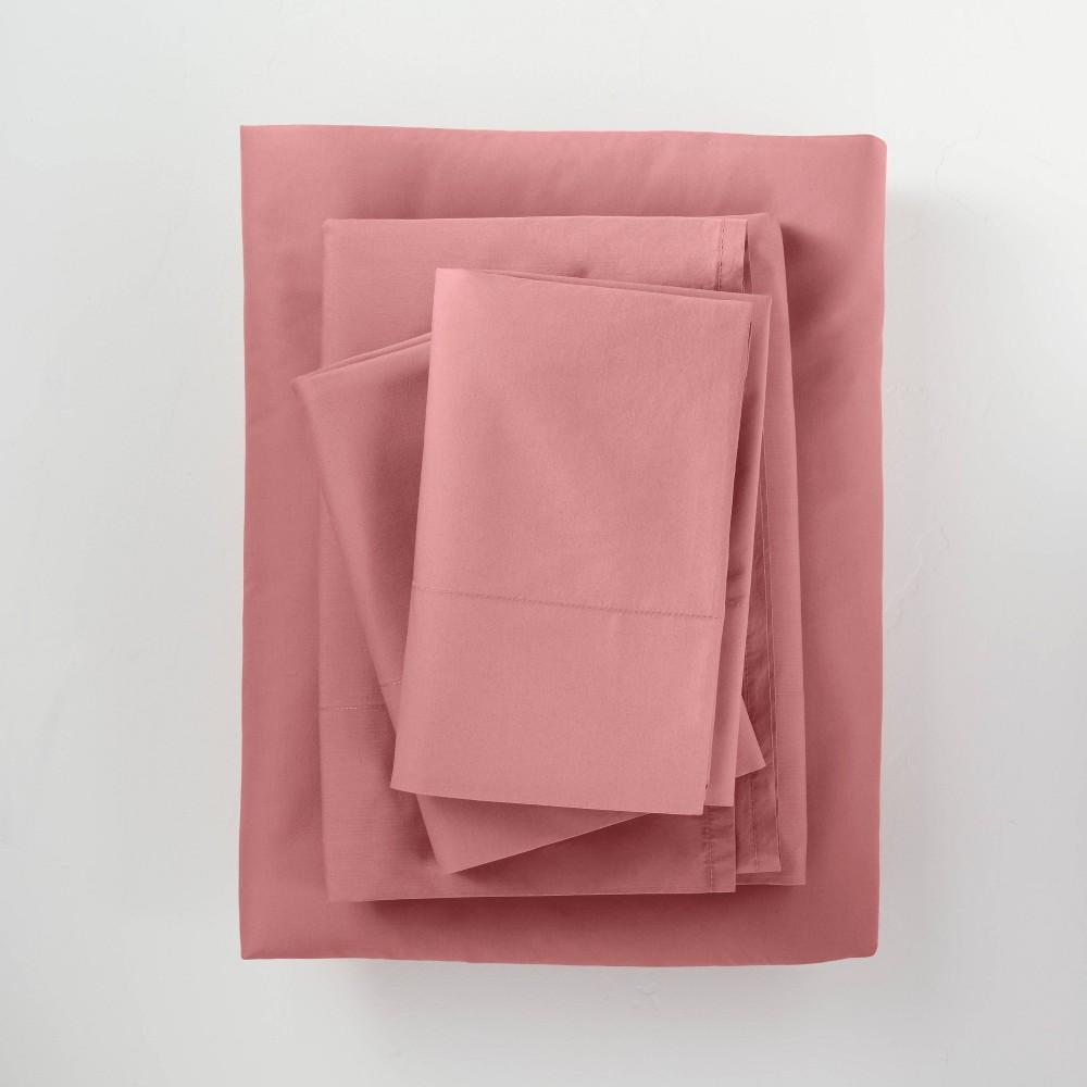California King Washed Supima Percale Solid Sheet Set Rose Casaluna 8482