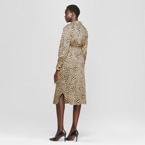 da25ca10f1 Women s Leopard Print Self Tie Midi Shirtdress - Who What Wear™ Yellow    Target