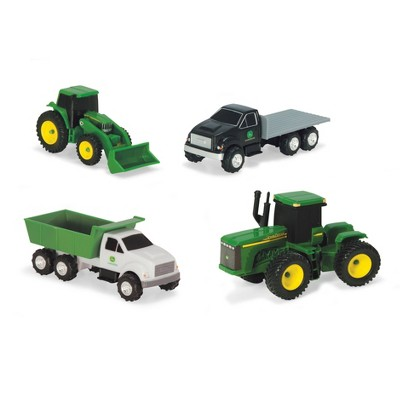 John Deere Vehicle Value 4pk 4 Wheel Drive Tractor Tractor with Loader Dump Truck and Flatbed Truck