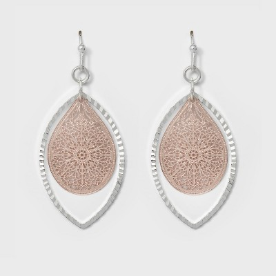 Leaf and Open Oval Earrings - A New Day™ Silver/Rose Gold