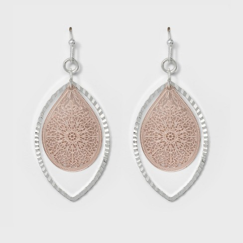 Leaf and Open Oval Earrings - A New Day™ Silver/Rose Gold - image 1 of 3
