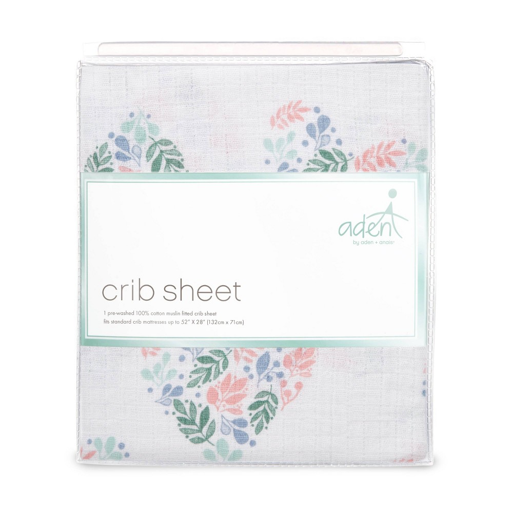 Image of aden by aden + anais Crib Sheet - Floral Heart - Pink, Flower Hearts