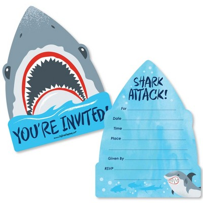 Big Dot of Happiness Shark Zone - Shaped Fill-In Invites - Jawsome Shark Viewing Week Party or Birthday Party Invite Cards with Envelopes - Set of 12