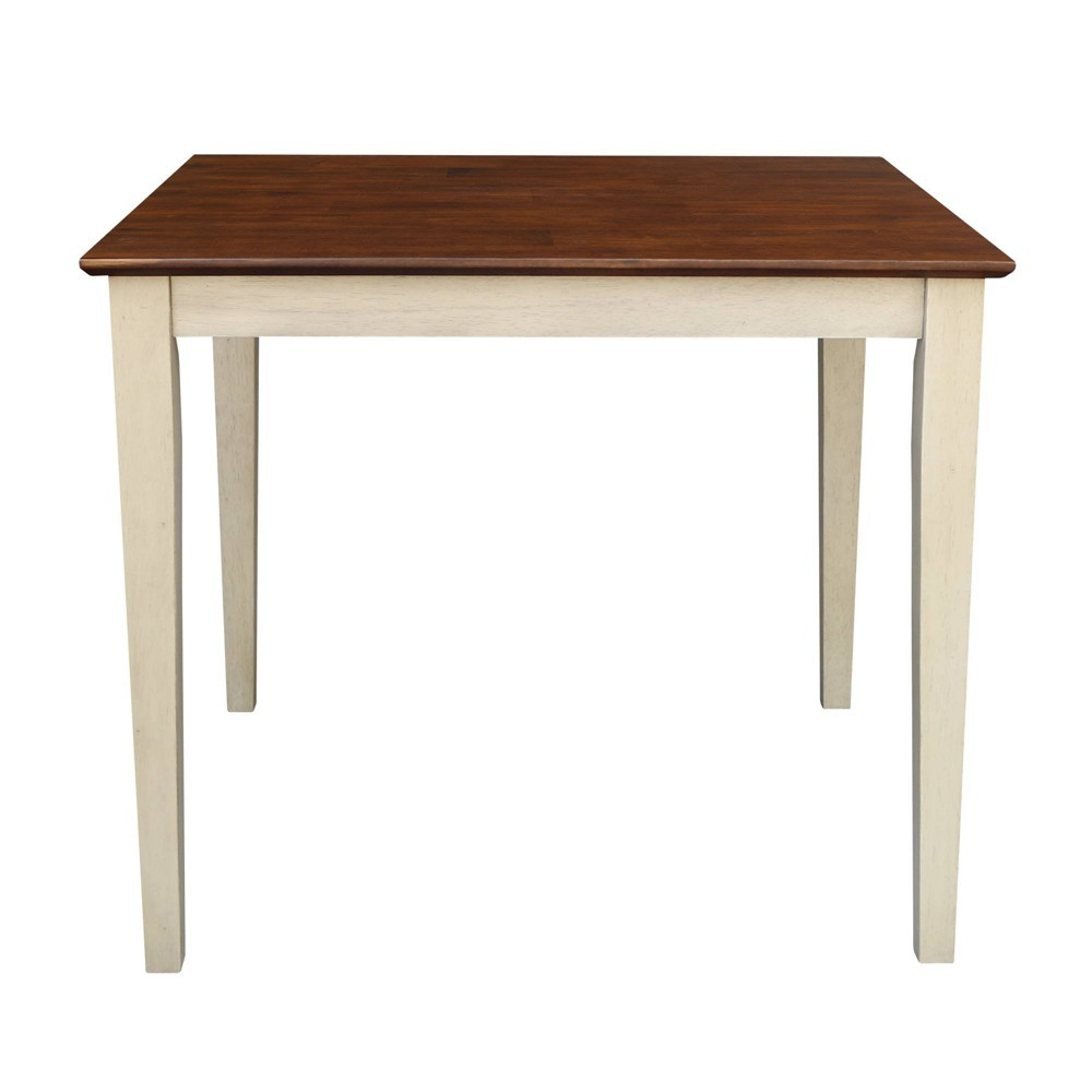 36 Square Solid Wood Top Table with Shaker Legs Almond/Brown (Brown/Brown) - International Concepts