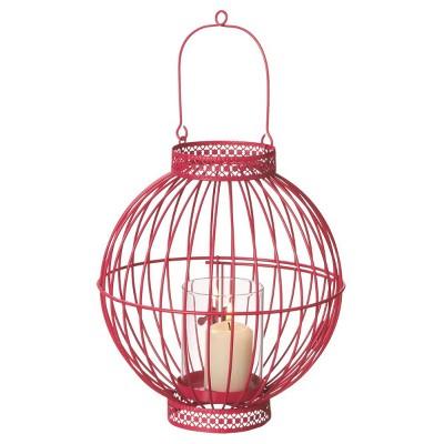 "Ganz 9"" Fancy Fair Contemporary Style Deep Pink Hanging Votive Candle Holder Lantern"