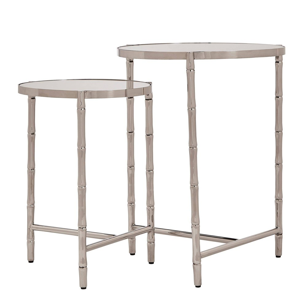Kineks Bamboo Look Stainless Steel Marbled Nesting Table Sets Silver Inspire Q