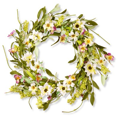 "Floral Wreath Mixed Flowers - White/Purple (20"")"