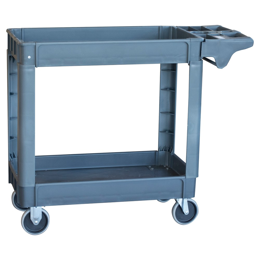 "Image of ""39.75"""" 550 Lbs Capacity 2 Shelf Heavy Duty Utility Cart - Gray - Pro-Series"""