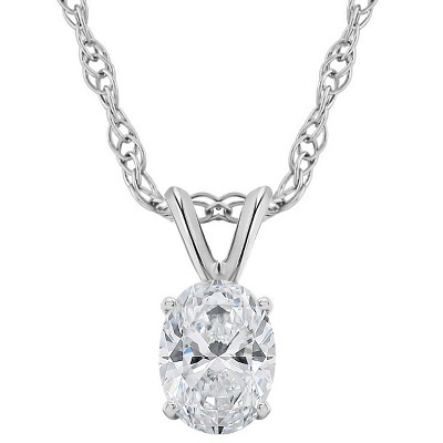 Pompeii3 3/8Ct Certified Lab Created Oval Diamond Solitaire Pendant White Gold Necklace