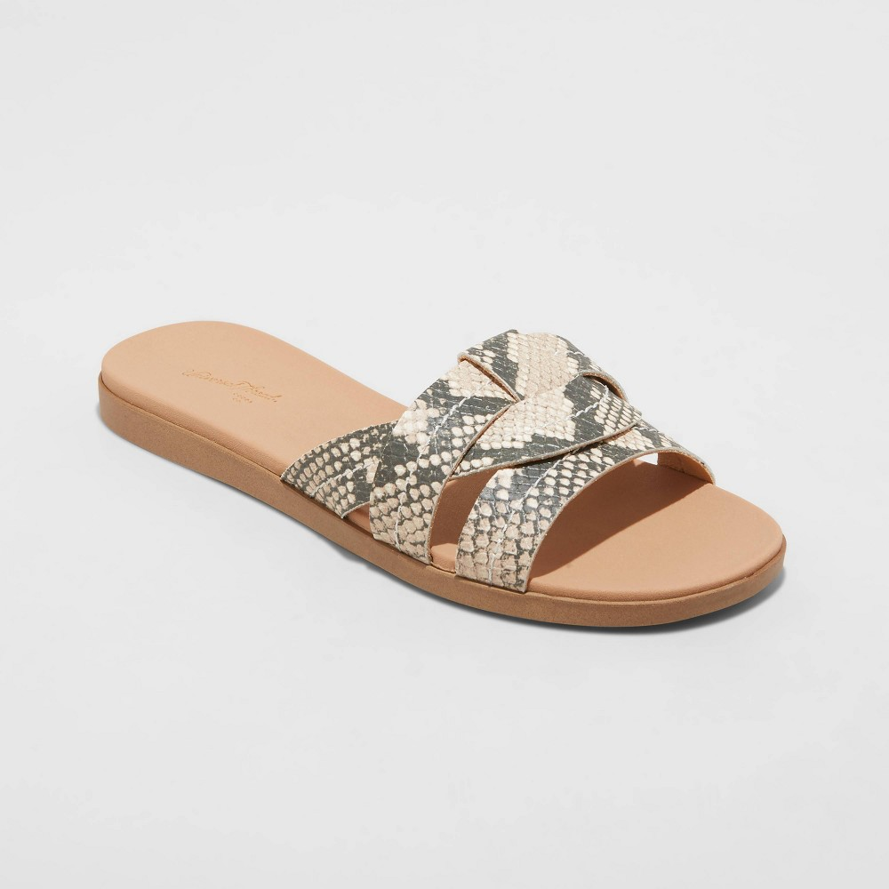 Women 39 S Kenzie Snake Print Slide Sandals Universal Thread 8482 Gray 5