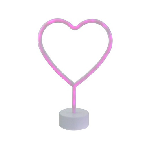 """Northlight 11.5"""" Battery Operated Neon Style LED Valentine's Day Heart Table Light - Pink - image 1 of 3"""
