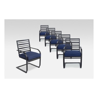 Admirable Ft Walton 6Pk Steel Patio Motion Dining Chairs Navy Gmtry Best Dining Table And Chair Ideas Images Gmtryco
