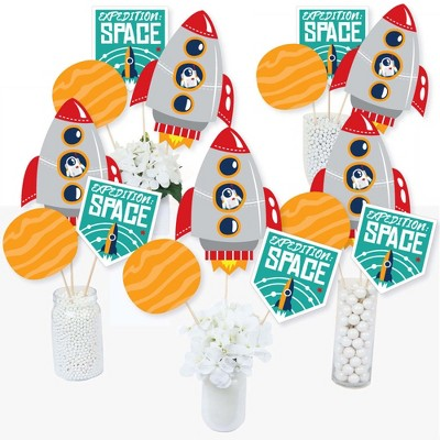 Big Dot of Happiness Blast Off to Outer Space - Rocket Ship Baby Shower or Birthday Party Centerpiece Sticks - Table Toppers - Set of 15