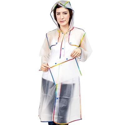 Juavle Clear Portable Rain Poncho Jacket Raincoat for Adults, 22 x 52 in