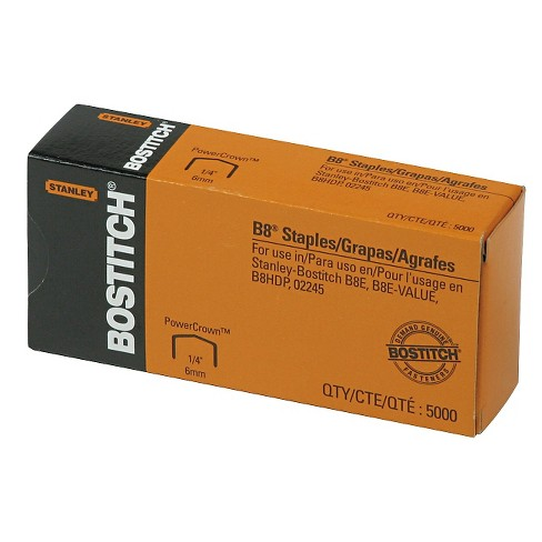 Stanley Bostitch® Full Strip B8 Staples, 1/4 Inch Leg Length, 5,000/Box - image 1 of 1