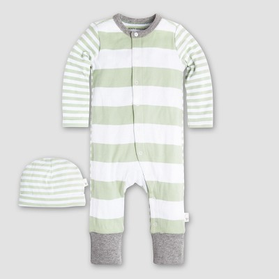 Burt's Bees Baby Organic Cotton Mixed Stripe Coverall & Hat Set - Green 0-3M