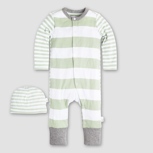 Burt s Bees Baby Organic Cotton Mixed Stripe Coverall   Hat Set - Green c2fbcf77ee0d
