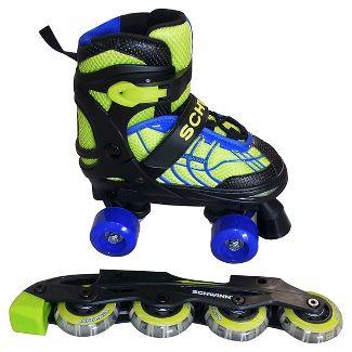 Schwinn Boys Adjustable 2-in-1 Quad/Inline Skate - Black/Green 1-4