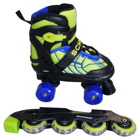 Schwinn Boy's Adjustable 2-in-1 Quad/Inline Skate - Black/Green 1-4 - image 1 of 2