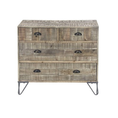 Rustic Teak 4 Drawer Chest Brown - Olivia & May