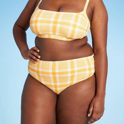 Juniors' Plus Size Textured High Leg High Waist Bikini Bottom - Xhilaration™ Orange Plaid