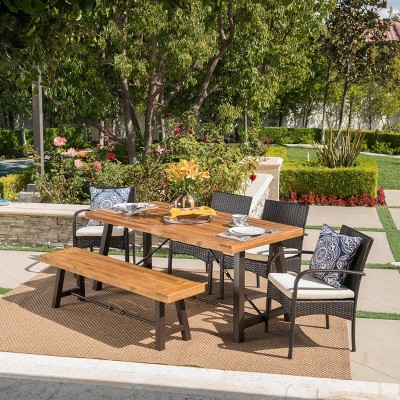 Betsys 6pc Acacia Wood/Wicker Patio Dining Set - Brown/Cream - Christopher Knight Home