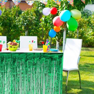 2 Pcs Metal Foil Fringe Party Decorations Table Skirts - PiccoCasa