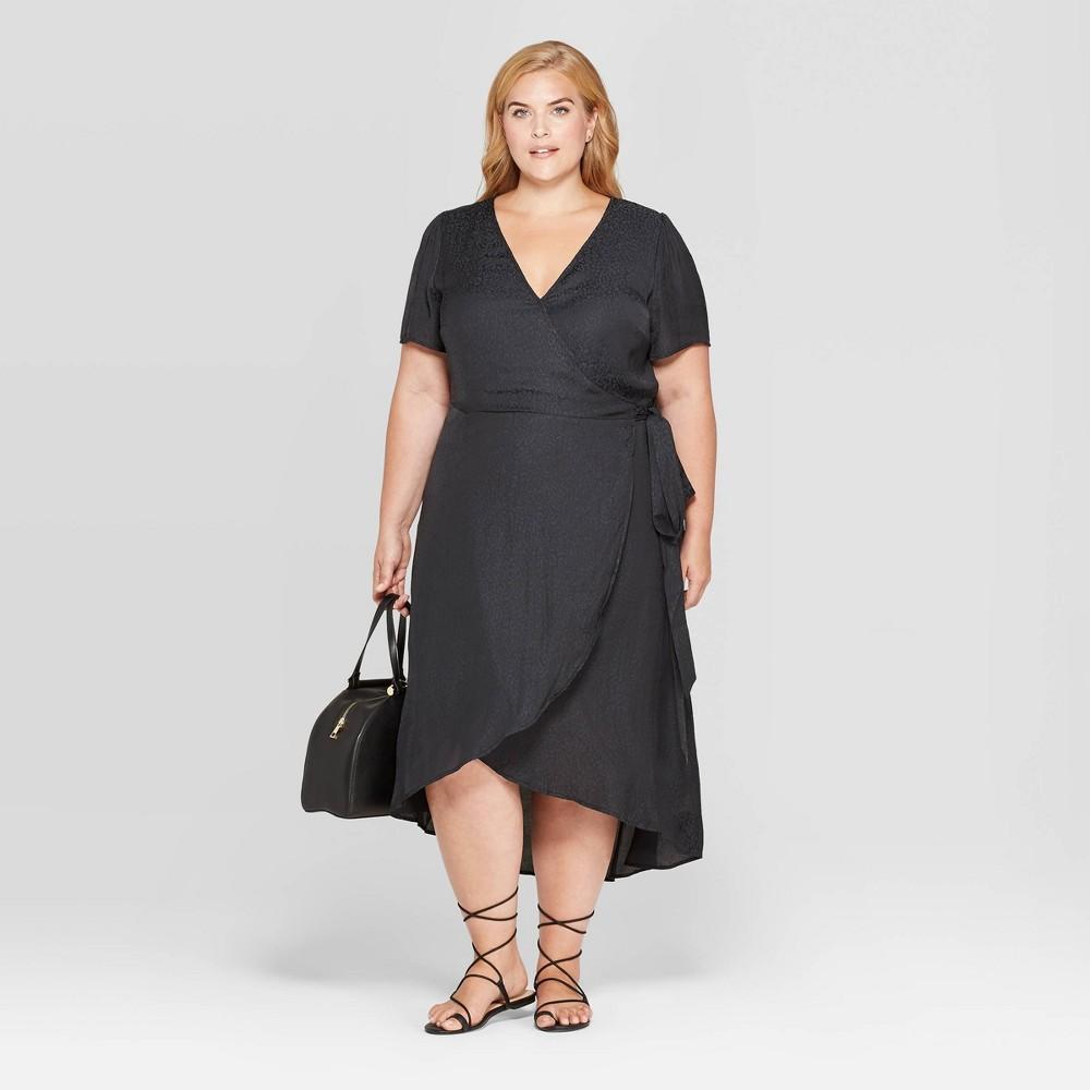 Image of Women's Plus Size Animal Jacquard Short Sleeve V-Neck Wrap Midi Dress - Ava & Viv Black 1X, Women's, Size: 1XL