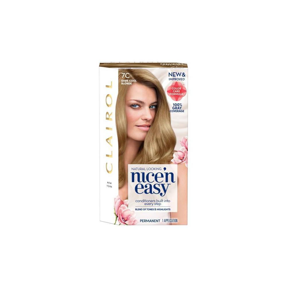 Image of Clairol Nice'n Easy Permanent Hair Color - 7C Dark Cool Blonde - 1 kit
