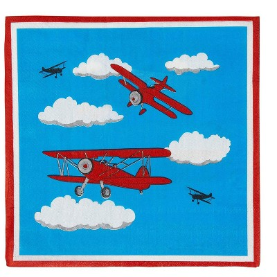 """Blue Panda 150-Pack Airplane Disposable Paper Napkins Kids Party Supplies, 2-Ply, Folded 6.5""""x6.5"""""""