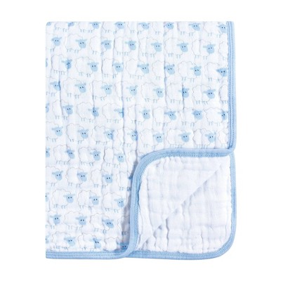 Hudson Baby Unisex Baby Muslin Tranquility Quilt Blanket - Blue Sheep One Size