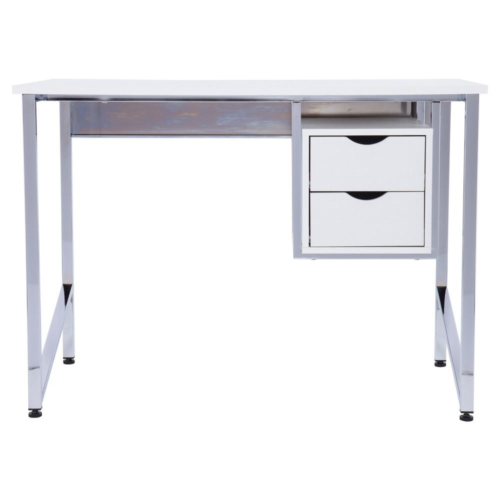 Wayne Writing Desk - White/Chrome - Aiden Lane