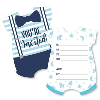 Big Dot of Happiness It's a Boy - Shaped Fill-in Invitations - Blue Baby Shower Invitation Cards with Envelopes - Set of 12