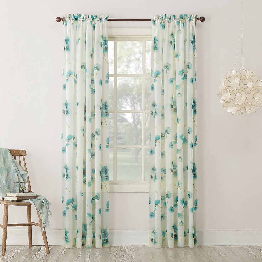 Carolyn Floral Print Crushed Sheer Voile Rod Pocket Curtain Panel Aegean 51