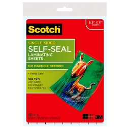 Scotch Self-Seal Laminating Sheets Letter Size 10ct - Clear