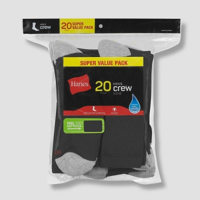 Hanes Men's Crew Super Value Socks 20pk - 6-12