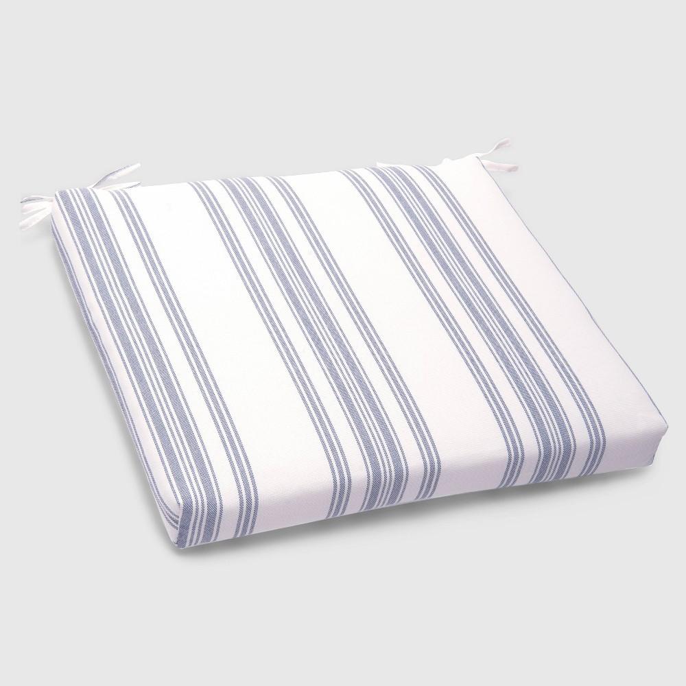 Ticking Stripe Outdoor Seat Cushion Navy - Threshold, White
