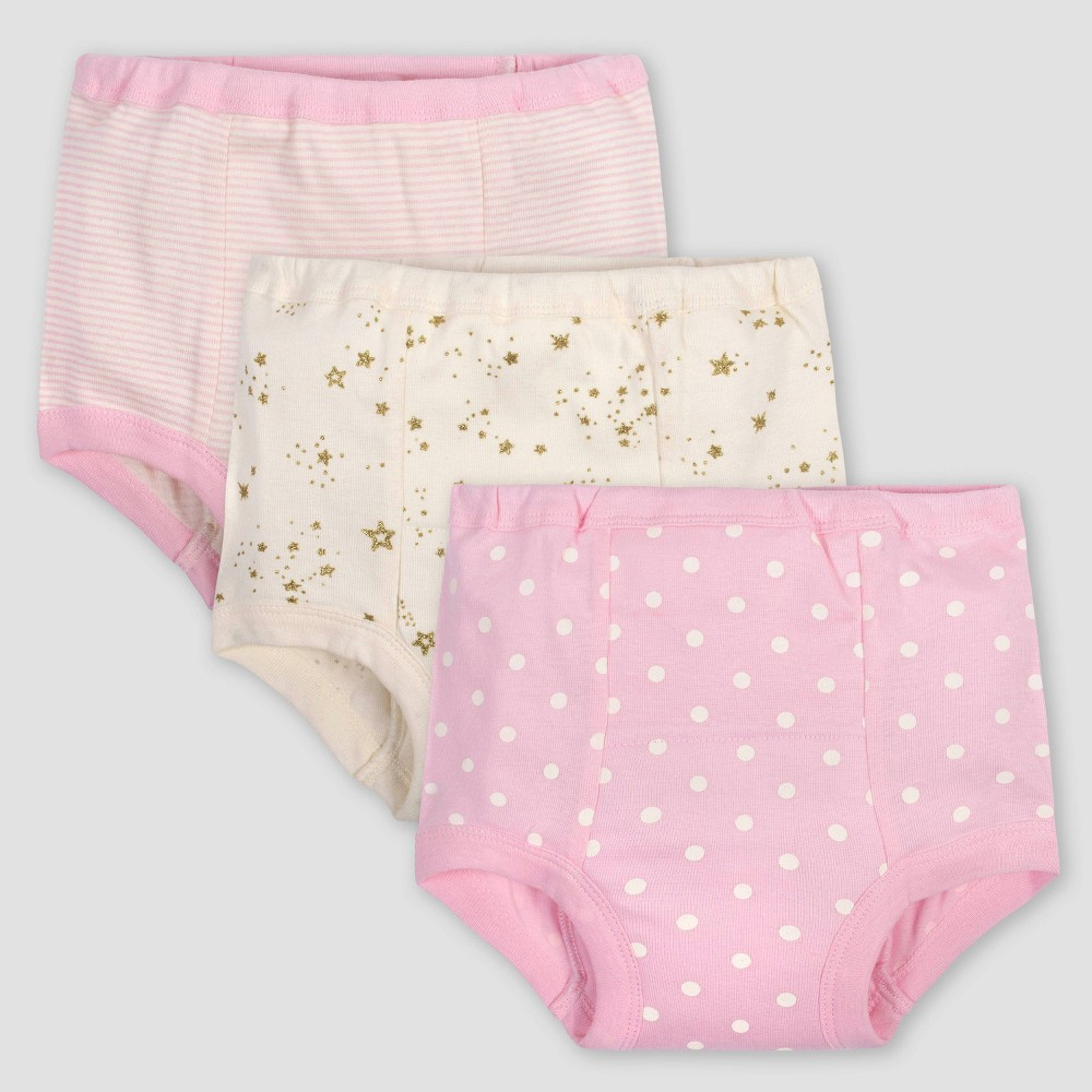 Image of Gerber Baby Girls' 3pk Dotted Pull-On Diapers - Pink 2T, Girl's