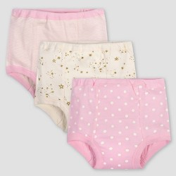 Gerber Baby Girls' 3pk Dotted Pull-On Diapers - Pink