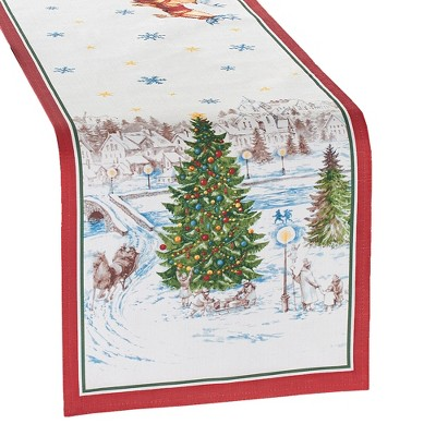 "Santa's Snowy Sleighride Table Runner - 13"" x 70"" - Red/Green - Elrene Home Fashions"