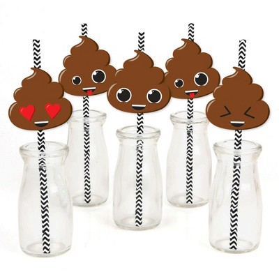 Big Dot of Happiness Party 'Til You're Pooped - Paper Straw Decor - Poop Emoji Party Striped Decorative Straws - Set of 24
