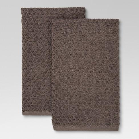Terry Kitchen Towel Gray 2pk - Threshold™ - image 1 of 1