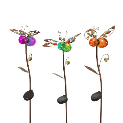 """GIL S/3 42.9""""H Solar Lighted Flower Yard Stakes"""