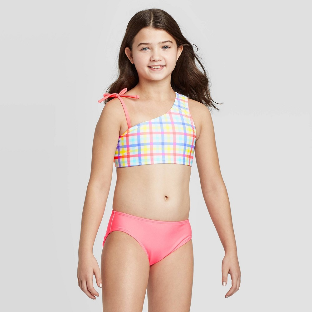 Image of Girls' Colorful Gingham 3pc Laser Cut Bikini Set - Cat & Jack Pink L, Girl's, Size: Large