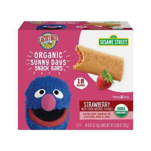 Earth's Best Sesame Street Organic Sunny Days Strawberry Snack Bars - 18ct - image 1 of 3